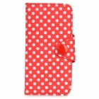 Cute Polka Dots Pattern PU Leather Case w/ Card Slot for Iphone 5 / 5s - White + Red