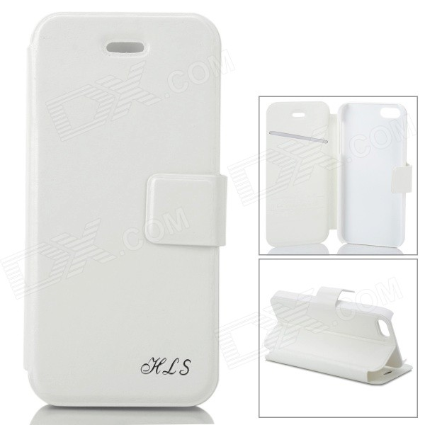 Protective PU Leather Flip Open Case for Iphone 5 / 5s - White omo protective pu leather flip open case for iphone 4 4s white