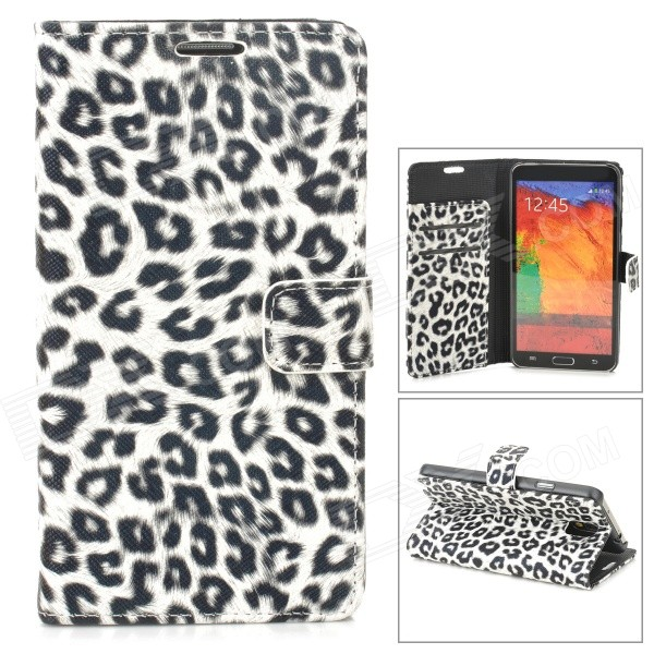 Leopard Pattern Stylish PU Leather Case for Samsung N9000 / Note 3 - White + Black 8x mobile phone telescope w back case strap for samsung note 3 n9000 black silver