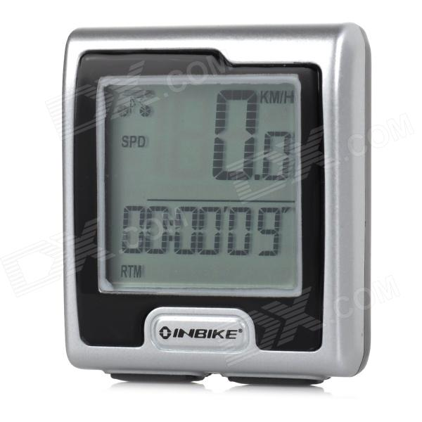 "INBIKE IC389 2.7"" LCD Wired Cycling Bicycle Computer - Silver + Black (1 x CR2032)"
