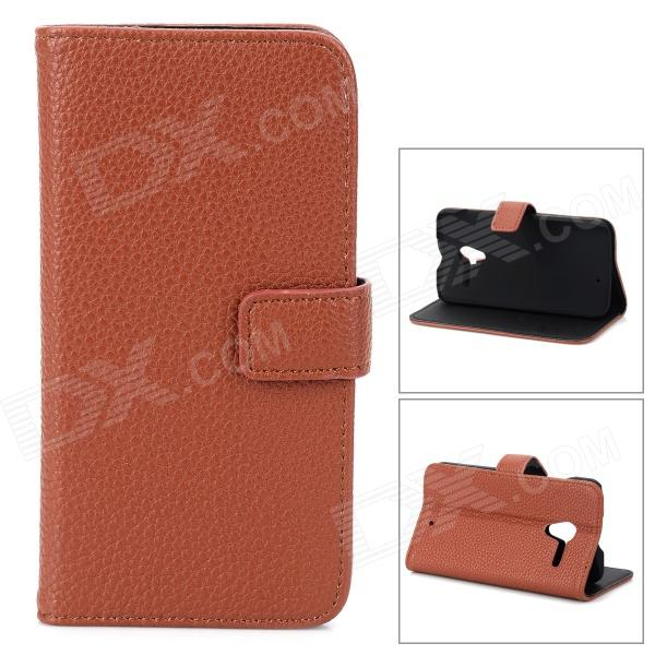 Lychee Grain Style Protective PU Leather Case for Moto X Phone - Brown