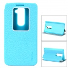 ROCK Protective PU Flip Open Case w/ Stand / Display Window for LG Optimus G2 - Blue
