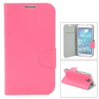Protective PU Leather Flip-open Case w/ Card Slot for Samsung Galaxy S4 i9500 - Deep Pink