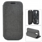 Protective Flip-open PU Leather Case w/ Holder for Samsung Galaxy S4 Mini i9190 - Black
