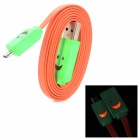 USB to Micro USB Data/Charging Cable w/ Smiley Face Flashing Light for Cell Phone - Orange + Green