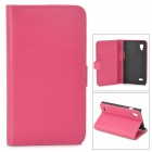 Stylish Flip-Open PU Leather Case w/ Stand / Card Slots for LG P760 / Optimus L9 - Deep Pink
