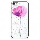 Relief Flower Style Protective Frosted Plastic Back Case for Iphone 5 / 5s - White + Pink + Purple