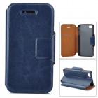Stylish Flip-open PU Leather + TPU Case w/ Holder for Iphone 4 / 4S - Deep Blue