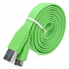 USB Male to Micro USB Male Data/Charging Flat Cable for Samsung Galaxy Note 3 - Green (100CM)