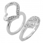 WH-05 Shiny Crystal-inlaid Couple's Ring - Silver (2 PCS)