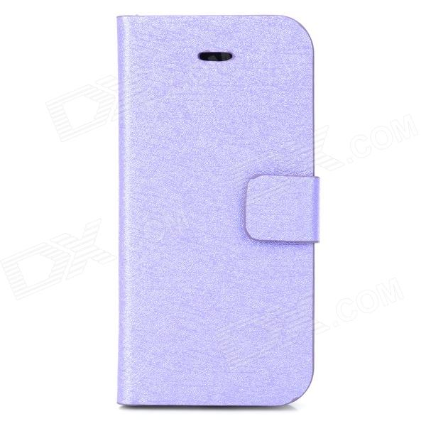 Silk Style Protective PU Leather + Plastic Case for Iphone 5C - Purple silk style protective pu leather plastic case for iphone 4 4s deep pink