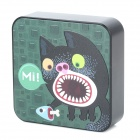 Ounuo Square Shaped Cat Pattern 5V 8000mAh Portable External USB Power Bank - Black + Green