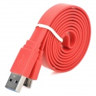 USB Male to Micro USB Male Data/Charging Flat Cable for Samsung Galaxy Note 3 N9000 - Red (100CM)