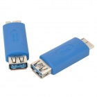 USB 3.0 Female to Micro 9-Pin Male Data Charging Adapter - Blue (2 PCS)