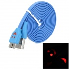 Smile Pattern Micro USB LED Flashing Flat Data Charging Cable for Samsung N9000 - Deep Blue