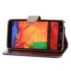 Denim Fabric Style Protective PU Leather Case for Samsung Galaxy Note 3 - Blue + Brown