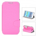Protective Ice Crystal Grain PU Leather Case for Samsung Galaxy S3 i9300 - Deep Pink