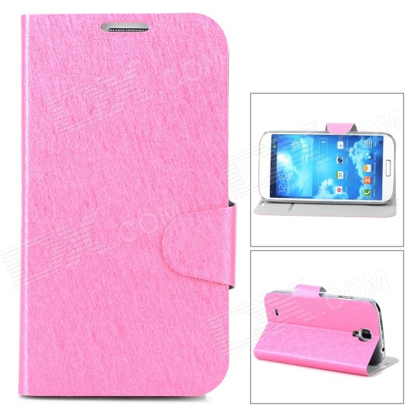 Protective PU Leather Flip-open Case w/ Stand for Samsung i9500 - Deep Pink protective pu leather flip open case w stand for samsung note 3 n9000 deep pink light green
