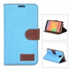Protective PU Leather Flip-open Case for Samsung Galaxy Note 3 - Sky Blue + Brown