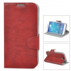 Protective PU Leather Case w/ Card Holder Slot for Samsung Galaxy S4 i9500 - Red Brown