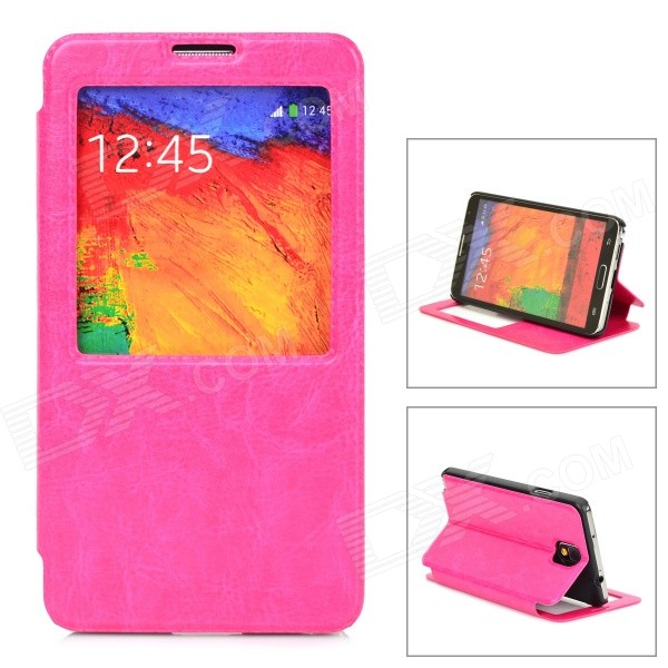 Protective PU Leather Case for Samsung Note 3 - Deep Pink стоимость