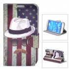 US National Flag Mustache Pattern Protective PU Leather Case for Samsung Galaxy S4 i9500