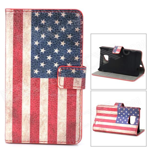 US Flag Pattern Protective PU Leather Case for Samsung Galaxy S2 i9100 - White + Red + Blue