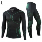 Santic MN12008 Long Sleeve Sports Cycling Warm Suit Jersey + Pants Set - Black + Green (L)