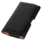 Lychee Grain Protective PU Case w/ Belt Clip for Samsung Note 3 -Black