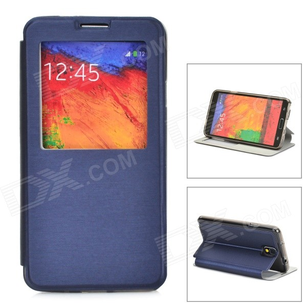 Protective PU Leather Case w/ Auto Sleep / Display Window for Samsung Galaxy Note 3 N9000 - Blue