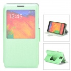 Ice Crystal Grain PU Leather Case w/ Auto Sleep / Display Window for Samsung Galaxy Note 3 - Green