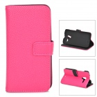 Lychee Grain Style Protective PU Leather Case for Moto X Phone - Deep Pink