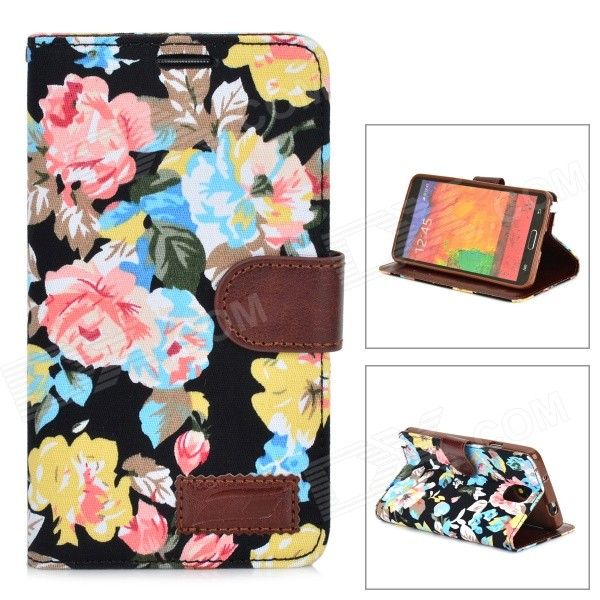 Flower Pattern Protective Flip-open PU Leather Case for Samsung Galaxy Note 3 butterfly flower pattern protective pu leather case cover for samsung galaxy note 3 n9000 black