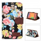 Flower Pattern Protective Flip-open PU Leather Case for Samsung Galaxy Note 3