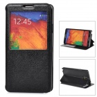 Silk Style Protective PU Leather + Plastic Case for Samsung Galaxy Note 3 N9000 - Black