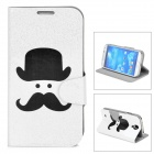 Mustache Pattern Protective Flip-open PU Leather Case for Samsung Galaxy S4 i9500 - White + Black