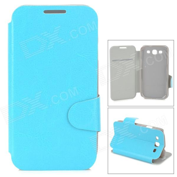 Protective PU Leather Holder Case w/ Card Slot for Samsung i9300 - Blue