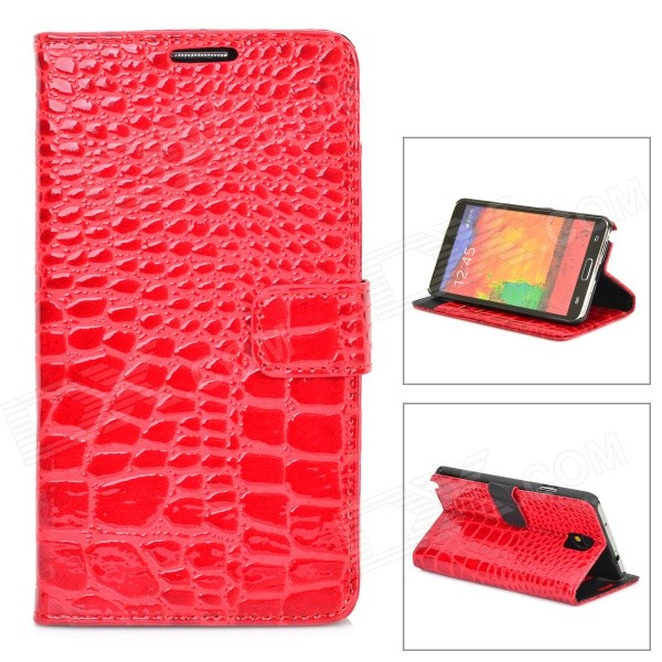 Crocodile Grain Protective PU Leather Case for Samsung Galaxy Note 3 N9000 - Red protective aluminum alloy pc back case for samsung galaxy note 3 n9000 more red black