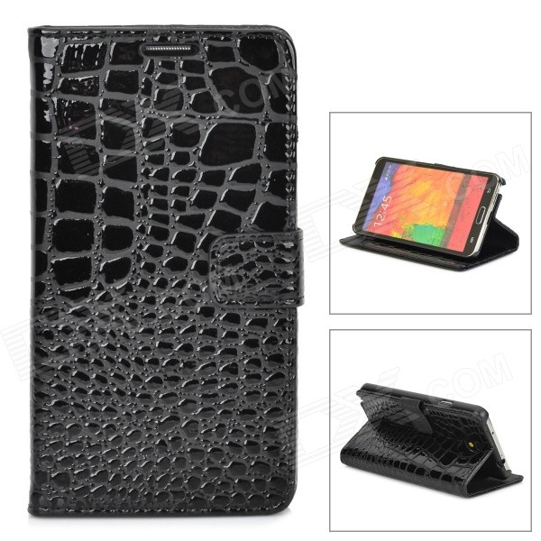 Crocodile Grain Protective PU Leather Case for Samsung Galaxy Note 3 N9000 - Black [official global rom]xiaomi redmi note 4 3gb 32gb smartphone silver