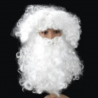 Synthetic Fiber Santa Claus Wig + Beard for Christmas - White