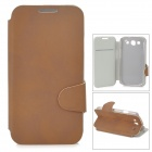 Protective Matte Flip-open PU Leather Case for Samsung i9300 - Brown