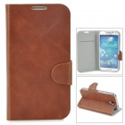 Protective Flip-open PU Leather Case w/ Card Slot for Samsung Galaxy S4 i9500 - Brown