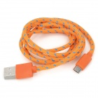 USB Male to Micro USB Male Nylon Charging Data Cable for Samsung + More - Orange + Blue (100 cm)