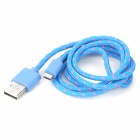 USB Male to Micro USB Male Nylon Charging Data Cable for Samsung + More - Deep Pink + Blue (100 cm)
