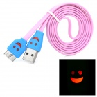 LED Smile Face Pattern Micro USB 9-pin Male to USB 3.0 Male Cable for Samsung Note3 / N9000 - Pink