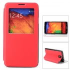 Protective PU Leather Case w/ Smart Window + Stand for Samsung N9000 - Red