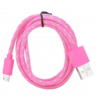 USB to Micro USB Data / Charging Woven Cable for Samsung / HTC / LG + More - Deep Pink + Green