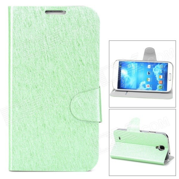 Stylish Protective PU Leather Case w/ Card Holder Slot for Samsung Galaxy S4 i9500 - Green cm001 3d skeleton pattern protective plastic back case for samsung galaxy s4