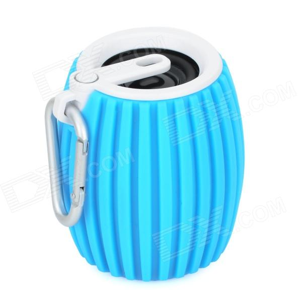 Grenade Style Portable Bluetooth v3.0 + EDR 2-CH Speaker w/ Microphone / TF - Blue + White t050 3w mini portable retractable stereo speaker w tf black golden 16gb max