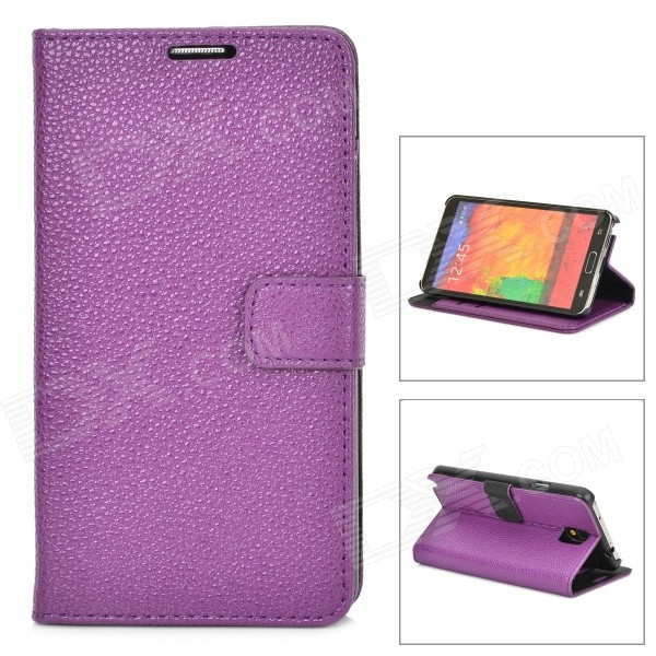 Lychee Grain Style Protective PU Leather Case for Samsung Galaxy Note 3 N9000 - Purple metal ring holder combo phone bag luxury shockproof case for samsung galaxy note 8